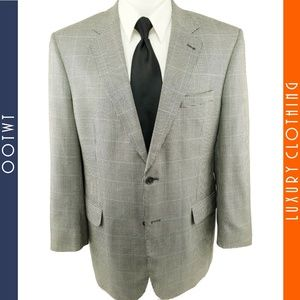 JOS A BANK 43R Silk Wool Houndstooth Sportcoat